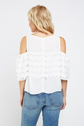 Crochet Overlay Cold Shoulder Top