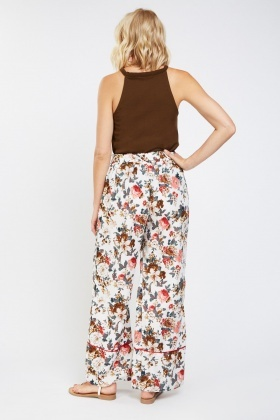 Floral Printed Wide Leg Trousers