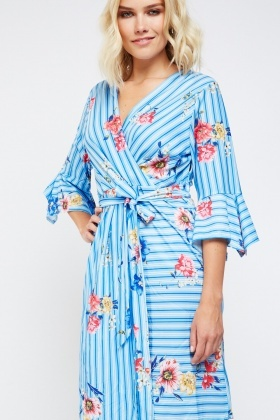Floral Striped Print Wrap Dress