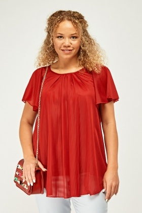 Frilly Sheer Mesh Swing Top