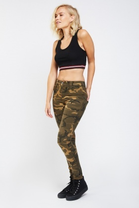 Low Rise Skinny Camouflage Jeans
