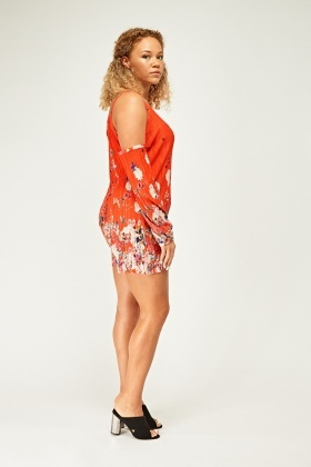 Printed Cut Out Shoulder Playsuit