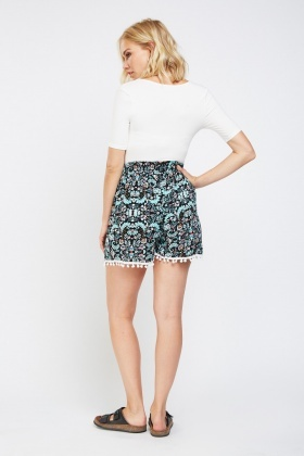 Printed Pom-Pom Trim Shorts