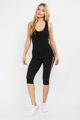 Striped Side Tank And Sports Leggings Set