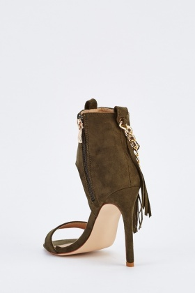 Chain Fringe Contrast Suedette Heels