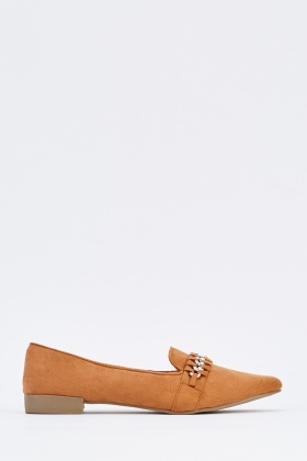 Chain Platted Suedette Loafers