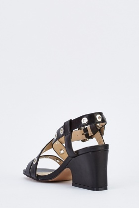Cut Out Block Heel Sandals