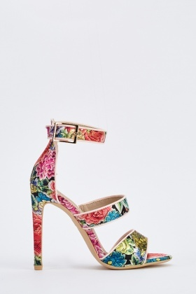Cut Out Floral Print Heeled Sandals