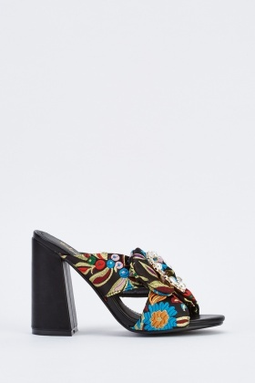 Embroidered Encrusted Heeled Mules