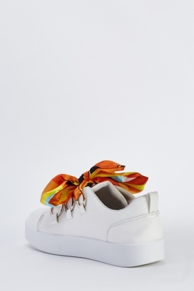 Ribbon Lace Up Platform Trainers