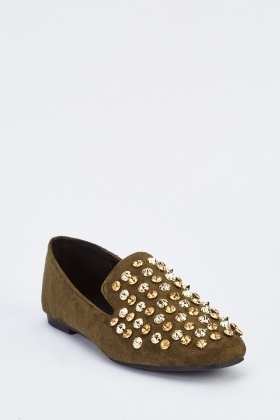 Studded Suedette Loafers