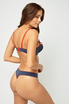Contrast Trim Bra And Brief Set
