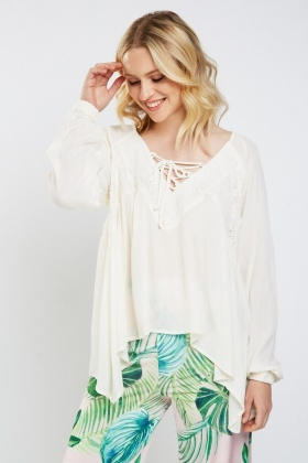Crochet Lace Up Smock Top
