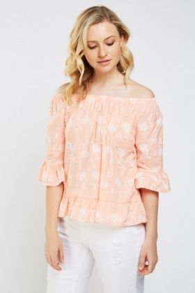 Embellished Print Contrast Peplum Top