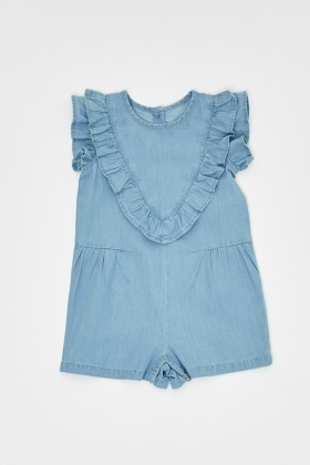 Frilly Front Denim Romper
