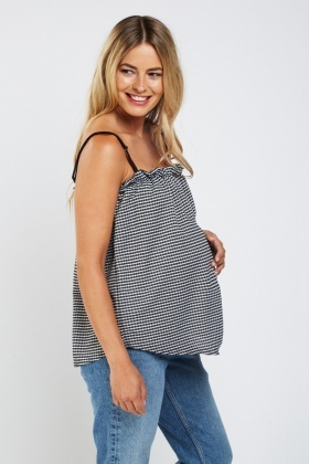 Frilly Gingham Maternity Cami Top