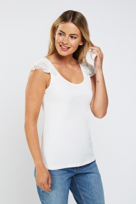 Frilly Lace Insert Casual Top