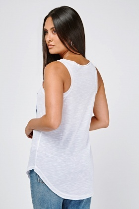 Graphic Front Speckled Vest Top
