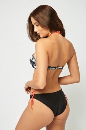 Halter Neck Printed Cut Out Swimsuit