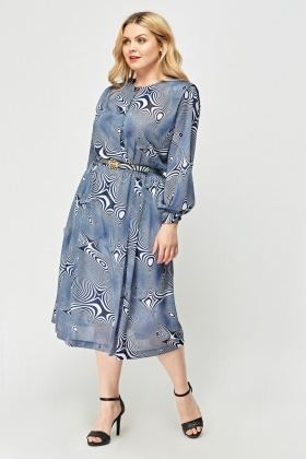 Illusion Printed Sheer Dress