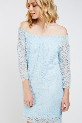 Laser Cut Lace Overlay Bardot Dress