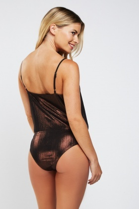 Low Plunge Metallic Organza Bodysuit
