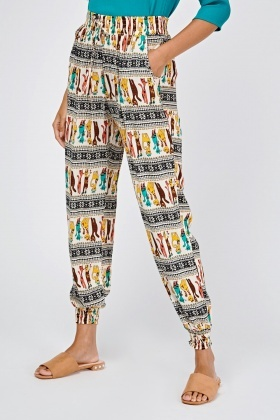 Tribal Print Casual Tapered Trousers