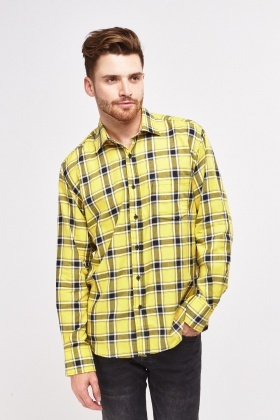 Yellow Plaid Checked Shirt