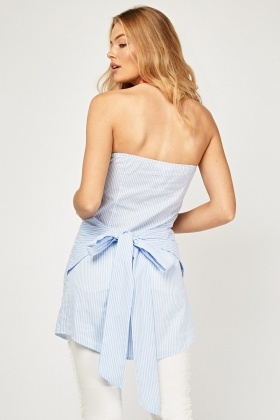 Bandeau Pinstriped Long Top