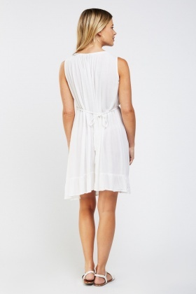Crinkled Frilly Hem Tunic Dress