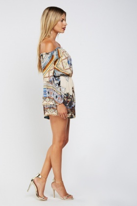 Ethnic Paisley Off Shoulder Playsuit