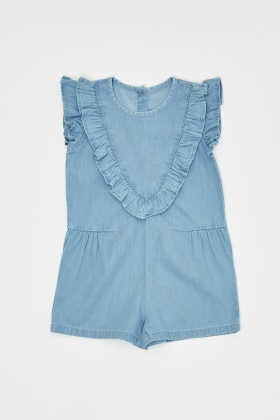 Frilly Front Denim Blue Romper