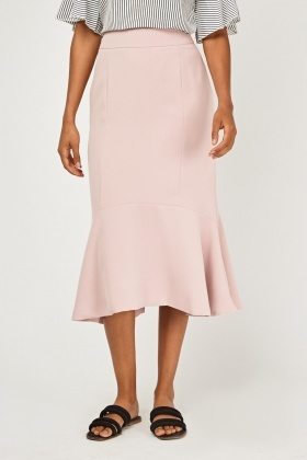 Frilly Hem Midi Peplum Skirt