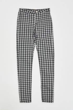 Houndstooth Print Skinny Jeggings