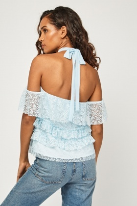 Lace Overlay Frilly Tiered Top