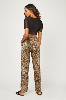 Leopard Print Straight Fit Trousers