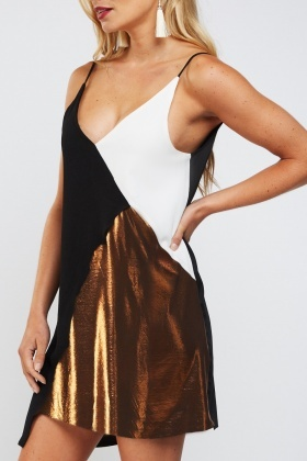 Metallic Colour Block Contrast Slip On Dress
