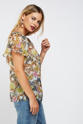Sheer Butterfly Print Casual Top