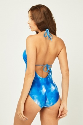 Tie-Dye Printed Tie Up Swimsuit