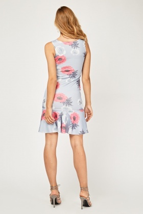 Flower Print Frilly Trumpet Dress