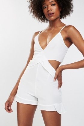 Frilly Cut Out Detail Playsuit