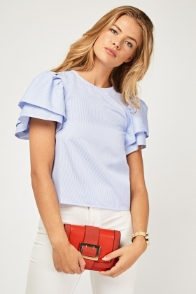 Frilly Layered Sleeve Stripe Top