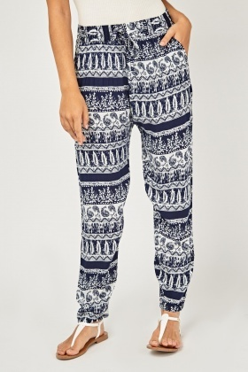 Moroccan Tile Print Tapered Trousers