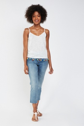 Raw Hem Crop Mom Jeans