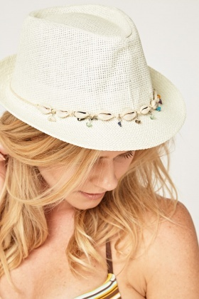 Shell Trim Straw Fedora Hat