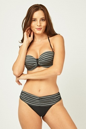Striped Halter Neck Bikini Set