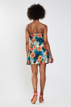 Tropical Floral Print Wrap Dress