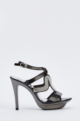 Encrusted Sling Back Heeled Sandals