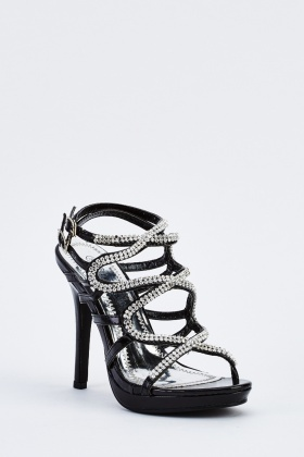 Encrusted Strappy Heeled Sandals