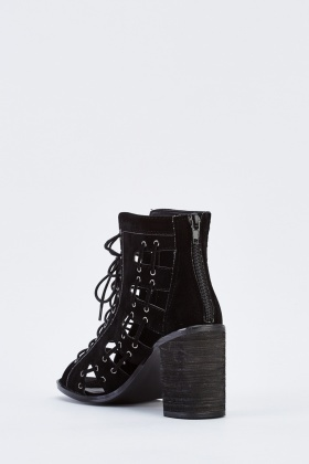 Lace Up Detailed Heeled Boots
